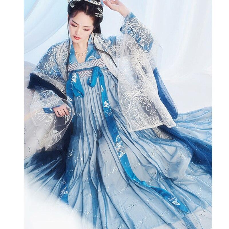 New Hanfu Women Chinese Dress Traditional Hanfu Female Dress China Ancient Fairy Princess Costume Girl Tang Suit Costume SL007