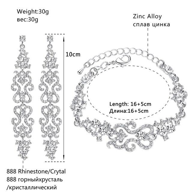 Minmin 2 Colori di Cristallo Da Sposa Insiemi Dei Monili per le Donne di Nozze Onde Braccialetto Lungo Orecchini Beads Africani Dei Monili EH193 + SL023