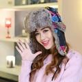 HT544 New Fashion Women Winter Hats Cap Warm Outdoor Ski Cap Trapper Cap Women Geometric Bomber Hats Caps Female Russian Fur Hat