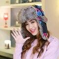 Ht544 nova moda mulheres chapéus de inverno cap quente ao ar livre ski cap trapper cap geométrica mulheres bomber chapéus caps feminino chapéu de pele russa