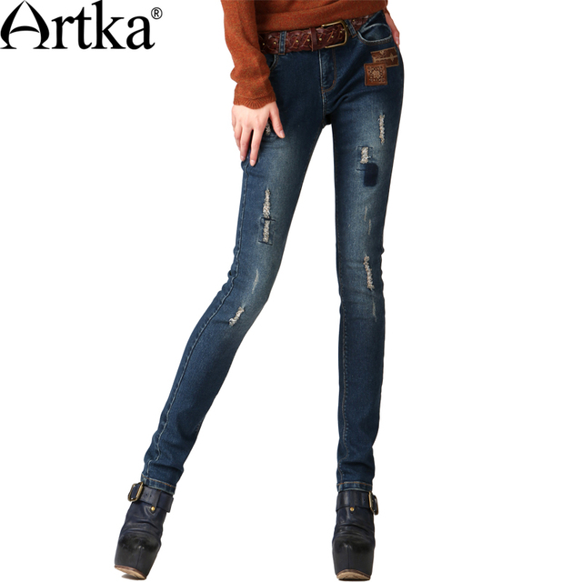 Cheap Artka Women's Autumn Casual Vintage Middle Waist Embroidery Bleached Patchwork Skinny Pencil Jeans KN16343Q