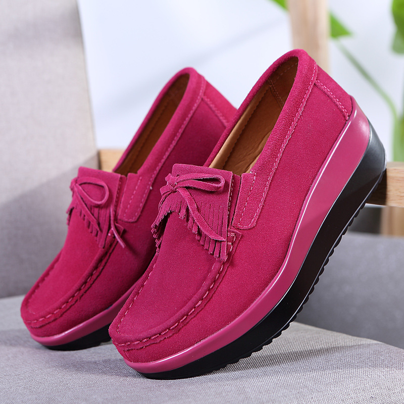 Fringe Creepers Cow   Suede     Leather   Sneakers New 2018 Fashion Women's Flats Platform Sneakers Casual Shoes Loafers Zapatos