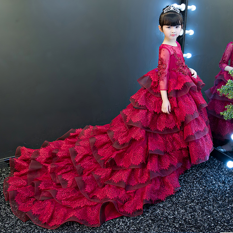 Novo e Elegante Flores Meninas vestido de Festa Vestido de Crianças Bola Vestidos de Luxo Longo Arrastando Traje Santo Primeira Comunhão Vestidos Pageant