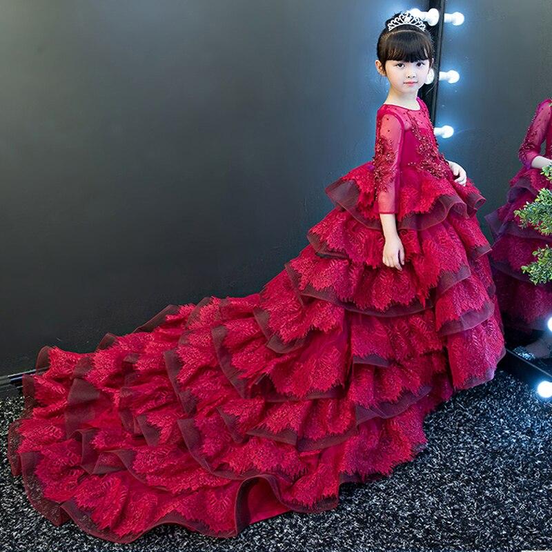 Nuevo elegante vestido de fiesta de flores de lujo para niñas, vestidos de baile para niños, traje largo, vestidos de desfile de la Primera Comunión