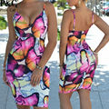 2016 New Summer Strap Floral Print Bodycon Dress Sexy Women Spaghetti Sleeveless Butterfly Print Dress