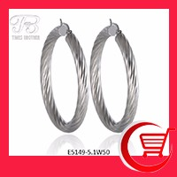 Wholesale Circle Round Hoop Earrings Textured Stainless Steel Earring for Women Girls E5149-5.1W50