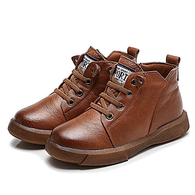 c8a5c9ab70f8aa Super qualität 1 paar winter Echtes Leder Fashion Stiefel kinder jungen  schuhe