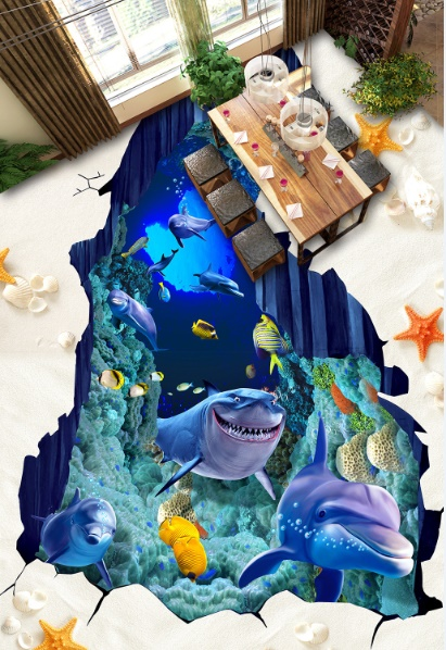 [Self-Adhesive] 3D Cartoon Shark Dolphin 3 Non-slip Waterproof Photo Self-Adhesive Floor Mural Sticker WallPaper Murals Print