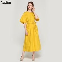 Vadim ผู้หญิงสีเหลืองกลางลูกวัวชุด sashes กระเป๋าแขนสั้นเอวหญิงจีบเก๋ vestidos QZ3624