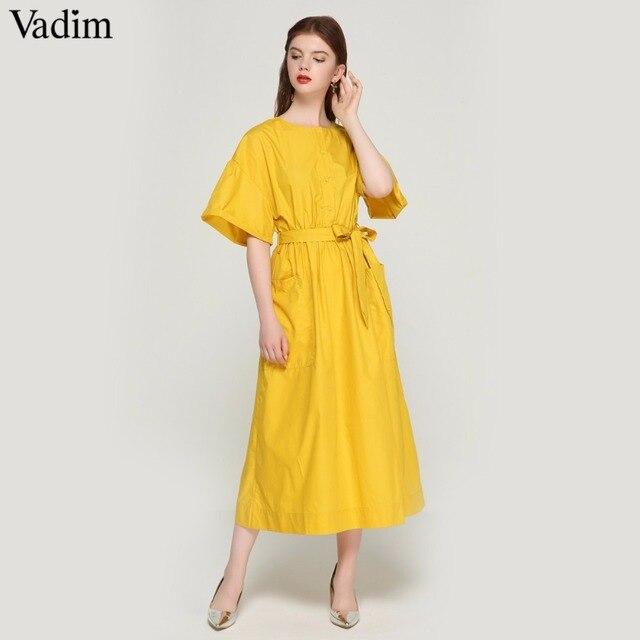 Vadim 女性のエレガントな黄色ミッドカーフドレスサッシポケット弾性ウエスト半袖女性プリーツシックなドレス vestidos QZ3624
