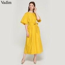 Vadim vrouwen elegante geel mid calf jurk sjerpen zakken elastische taille korte mouw vrouwelijke geplooide chic jurken vestidos QZ3624