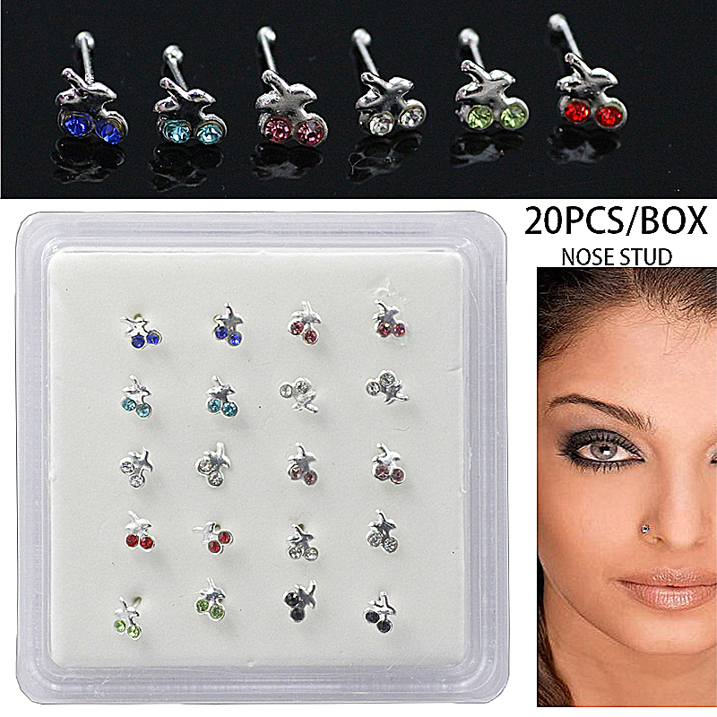 20pcs Woemn Body Jewelry Silver Nose Stud Nose Piercing Cherry