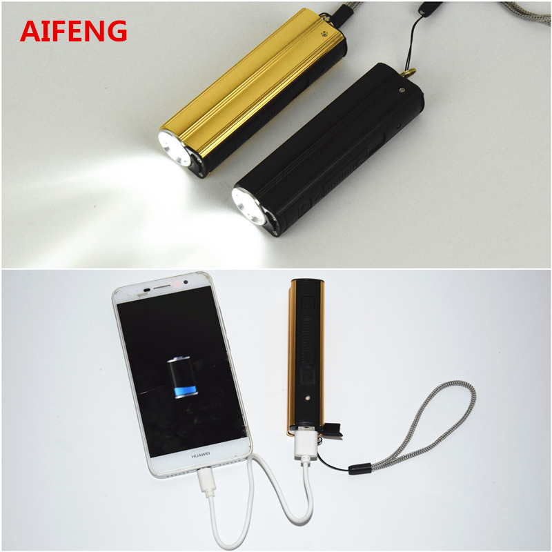 AIFENG usb rechargeable led 18650 power bank flashlight light charging torch  with charger camping hiking 5V DC  powerful led micro 5v 1a usb 18650 lithium battery charging board module protection new sell