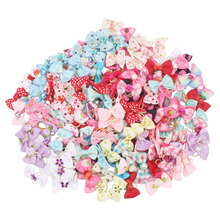 20pcs/50pcs Wholesale Dog Bows Cartoon Ribbon for Long Hair Dogs Pets Accessories Grooming Products noeud pour chien