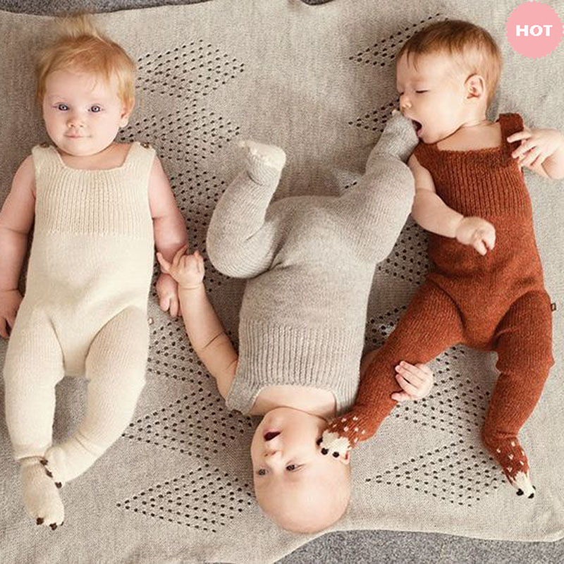 Hand Knitting Cotton Soft 0-3 years Newborn Baby Warm Romper For Infant Girls Boys winter clothes Rompers Jumpsuits Winter A263 0cm in diameter large space baby hand footed printing mud set newborn baby hand and foot print hundred days old gift souvenir