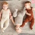 Mão de Tricô De Algodão Macio 0-3 anos Bebê Recém-nascido Romper Quente Para Meninas Infantis Meninos roupas de inverno Macacão Macacões inverno A263