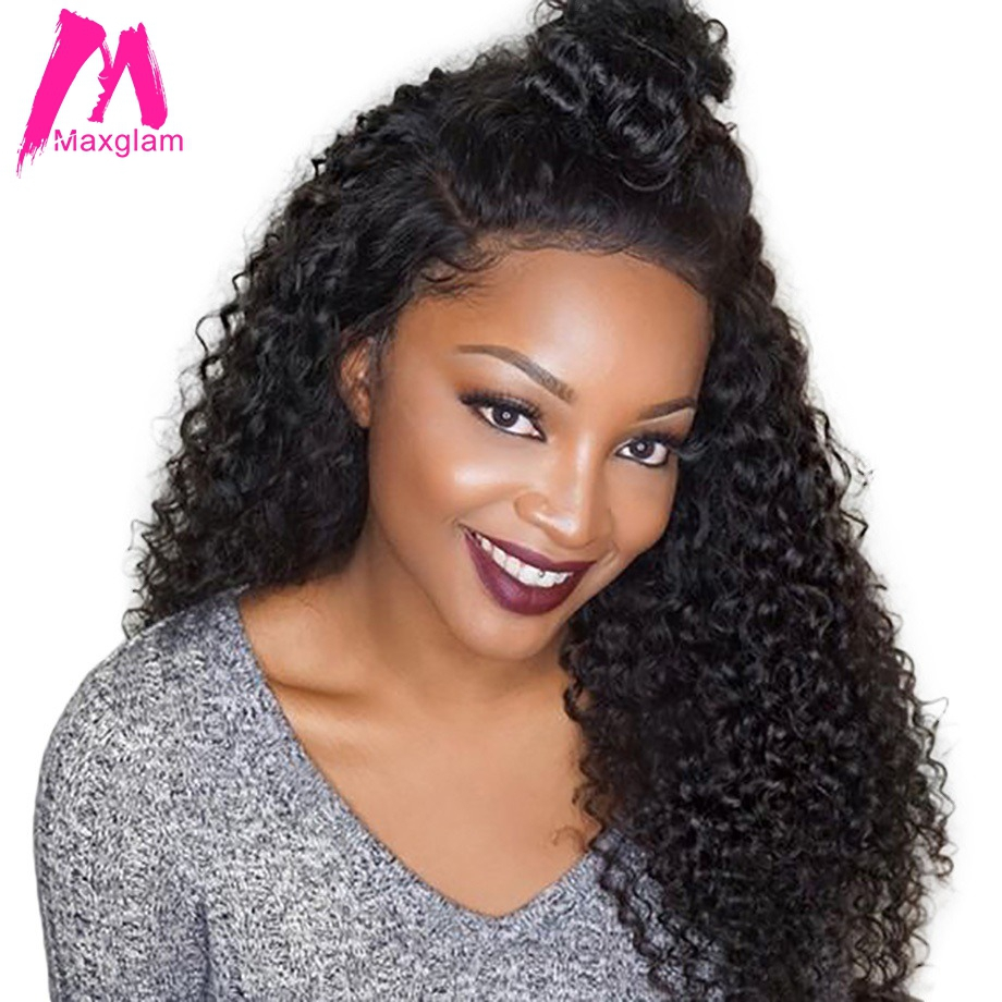 Maxglam 360 lace frontal wig Curly Human Hair Wigs For Black Women Full and Thick Pre
