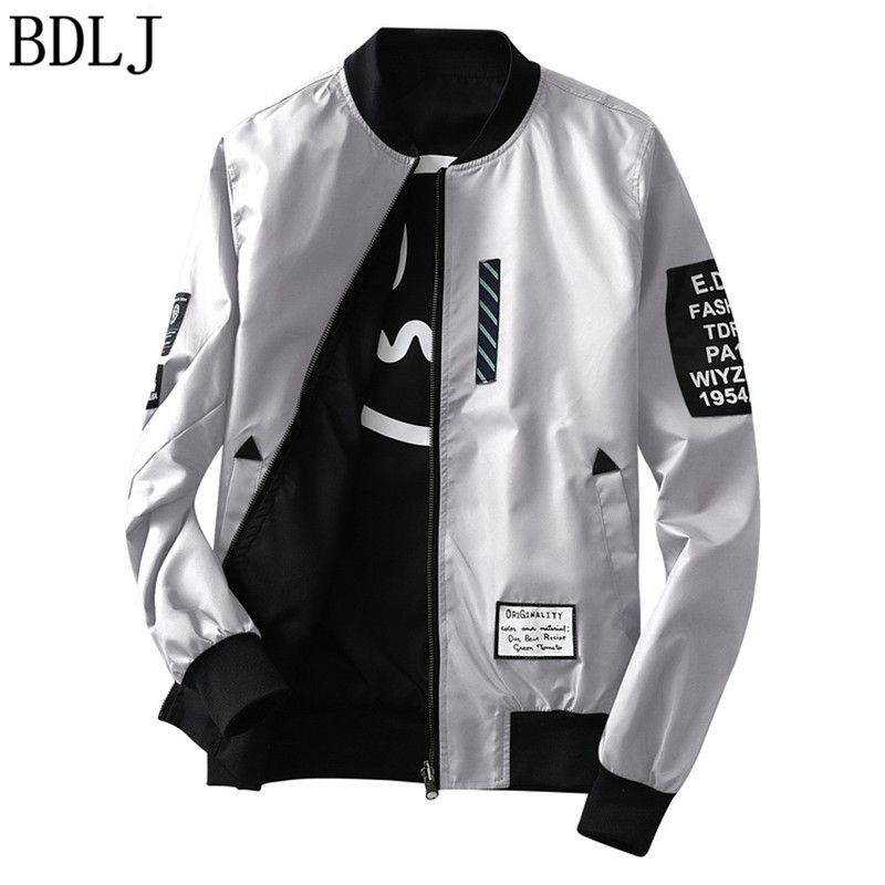 14ed4bca6 US $16.27 20% OFF|BDLJ New 2017 Leather Jacket Pilot With Patches off white  Both Side Wear Thin Pilot Bomber Jacket Men Wind Breaker Jackets Men-in ...