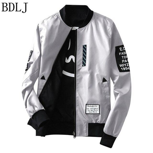 00bd4bd1a81 BDLJ New 2017 Leather Jacket Pilot With Patches off white Both Side Wear  Thin Pilot Bomber Jacket Men Wind Breaker Jackets Men