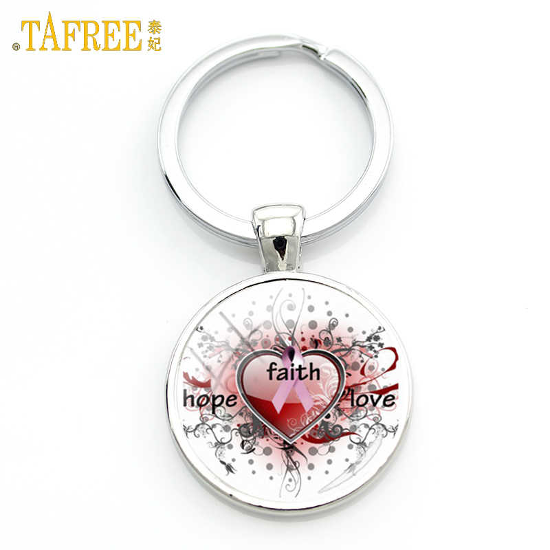 TAFREE Breast cancer Sign key ring October care female health charity memorial gift key ring female bag key ring jewelry CC25