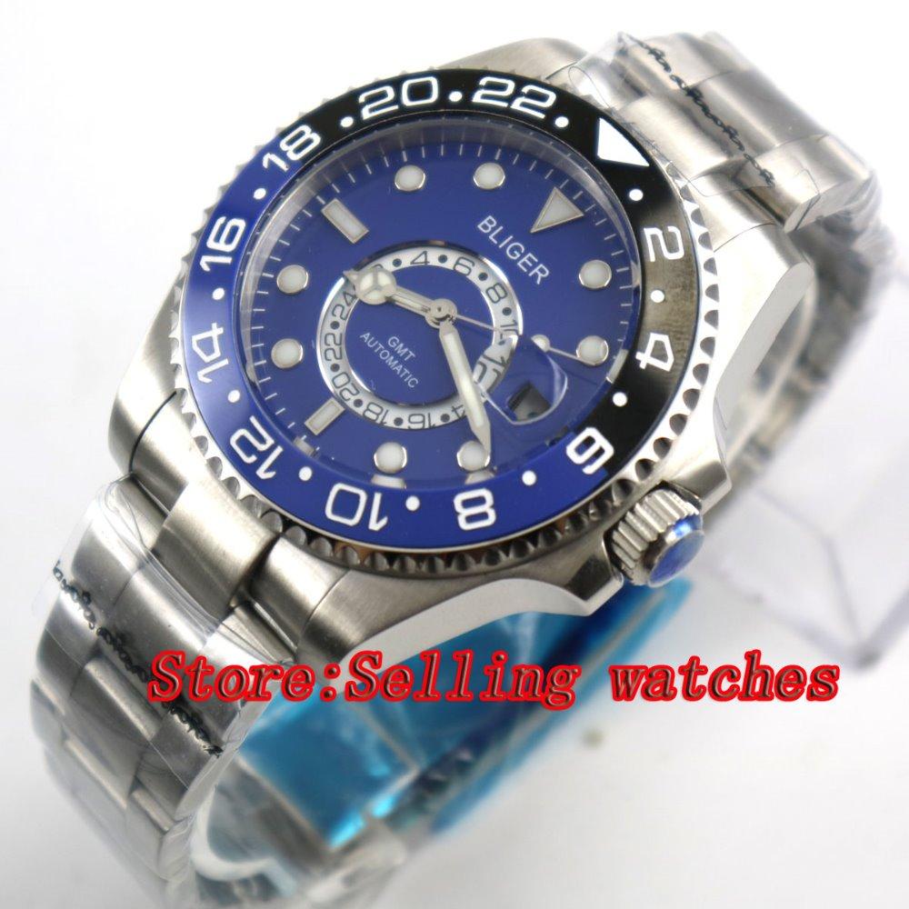 43mm Bliger Stainless Steel Case blue Dial Ceramic Bezel Luminous Mechanical Mens Wristwatch