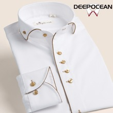 Deep French White Shirt Mens Long Sleeve Cotton Wedding DP slim Korean wedding dress