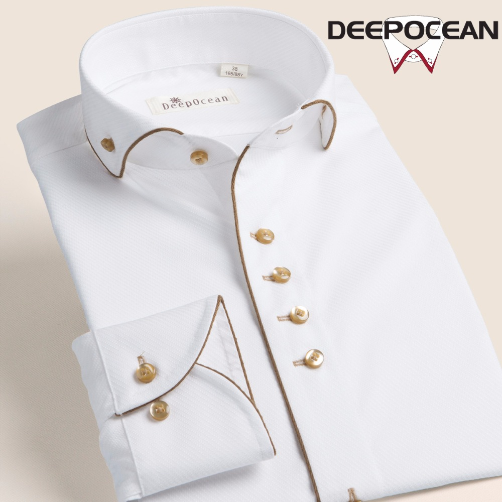 Pure White Men's Shirt Long Sleeve Man Shirt Business Casual Shirts Cotton Dress Shirts Man Fashion Male Clothing Tops DCX23509L