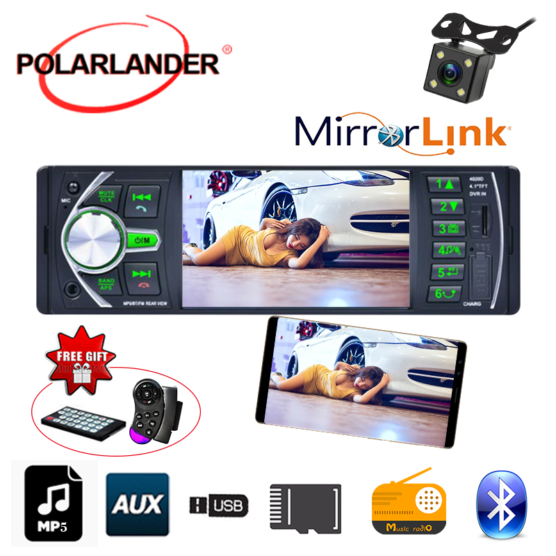 12V DVR Camera Input Mirror Link For Android Phone Automagnitol Bluetooth Car Radio Stereo 4 1 39 39 FM Audio TF USB AUX In in Car MP3 Players from Automobiles amp Motorcycles