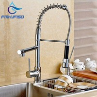 Best Quality Wholesale And Retail Chrome Solid Brass Kitchen Faucet Swivel Spout Spring Vessel Sink Mixer