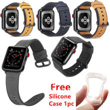 Retro Scrub Leather Watchband for Apple Watch Band Series 4 3 2 1 Bracelet WristBand 40 44 38 42mm Strap With Case Gifts
