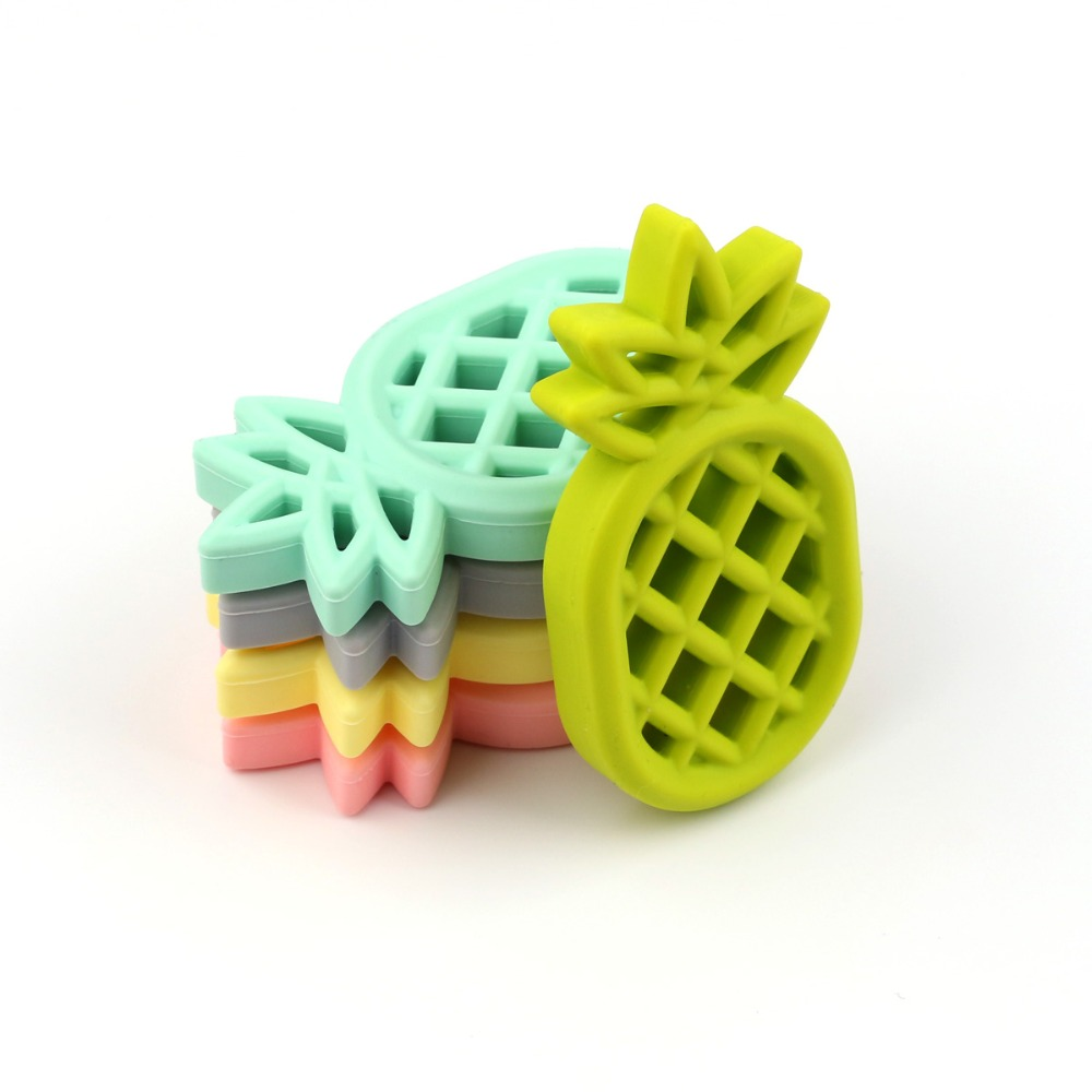 TYRY.HU 1pcs Pineapple Silicone Teether Babies Teething Pendant Nursing Soft Silicone Beads Safe Toys For Soothe Teething Baby