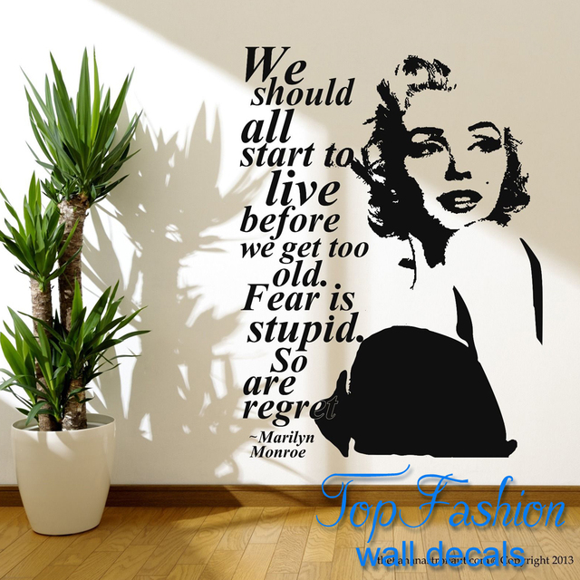 Superior Free Shipping Size 58*66cm Marilyn Monroe Quote Regret Wall Decal Stickers  Decor Easy Removable Part 20