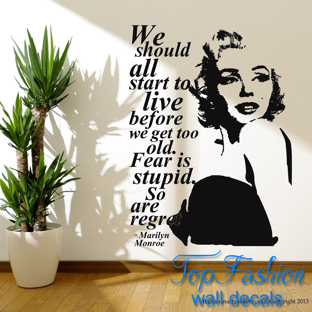 Free Shipping size 58*66cm Marilyn Monroe Quote Regret Wall Decal Stickers  Decor Easy Removable