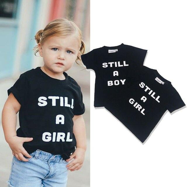 , 2019 קיץ עדיין תינוקת ילד ילדים פעוטות צוות צוואר קצר שרוולים שחור חולצה בגדי חולצה קיץ חולצות