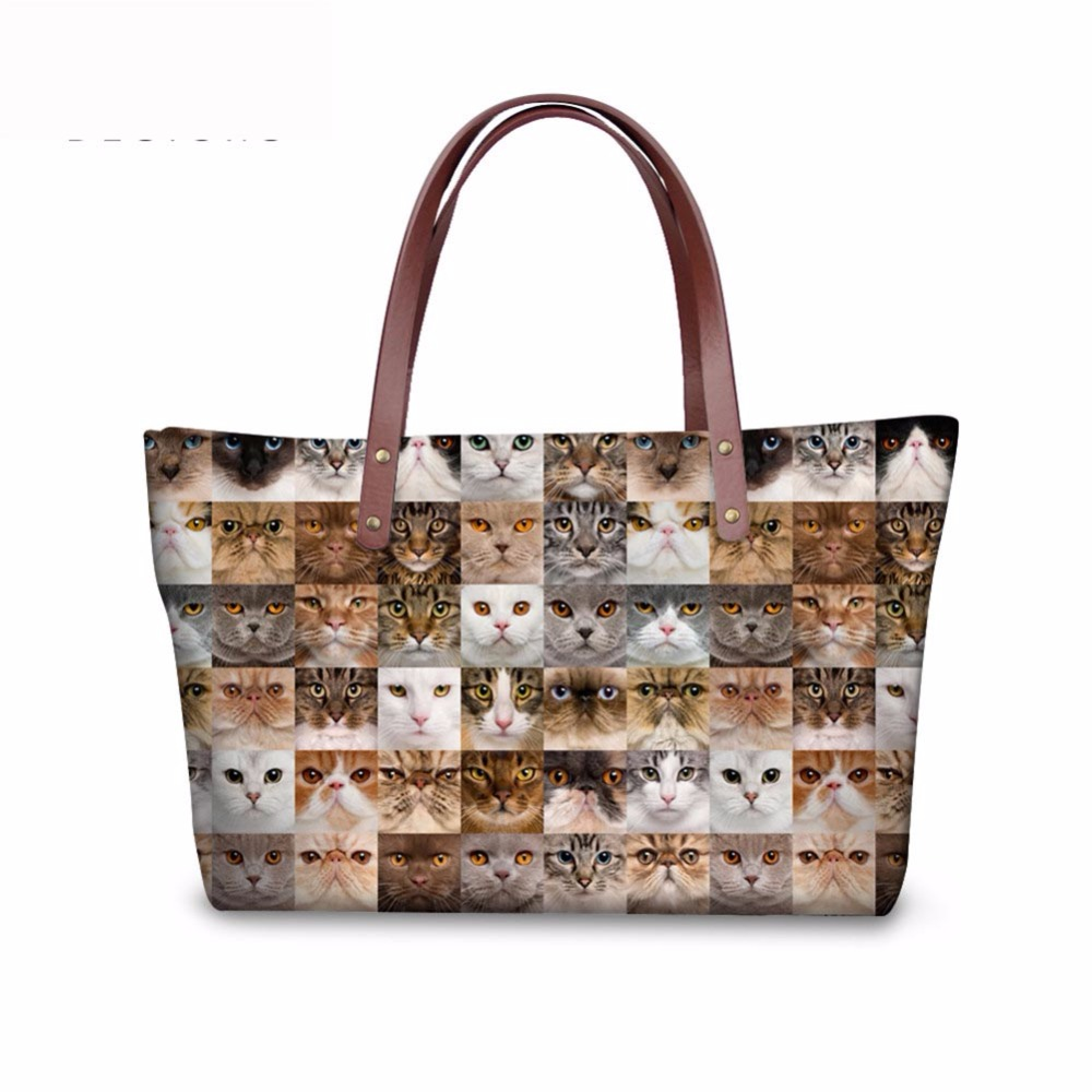 Noisydesigns Animal Puzzle Pattern Shoulder Bag Big gorjuss bag Women Hand Bag Beach Totes Travel Tote Sac a main Wholesale