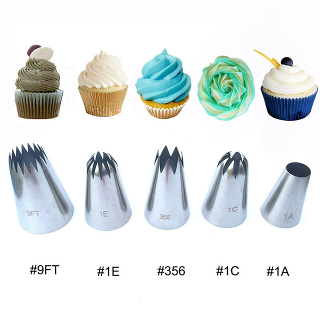 5pcs large metal cake cream decoration tips set pastry tools stainless steel piping icing nozzle - Creme decoration cupcake ...