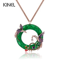 Kinel Exquisite Colorful CZ Pendant Long Sweater Necklaces Rose Gold Plated Phoenix Birds Animal Vintage Jewelry