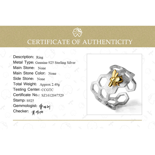 Lotus Fun Real 925 Sterling Silver 18K Gold Bee Rings Natural Designer Fine Jewelry Home Guard Honeycomb Open Ring for Women 5