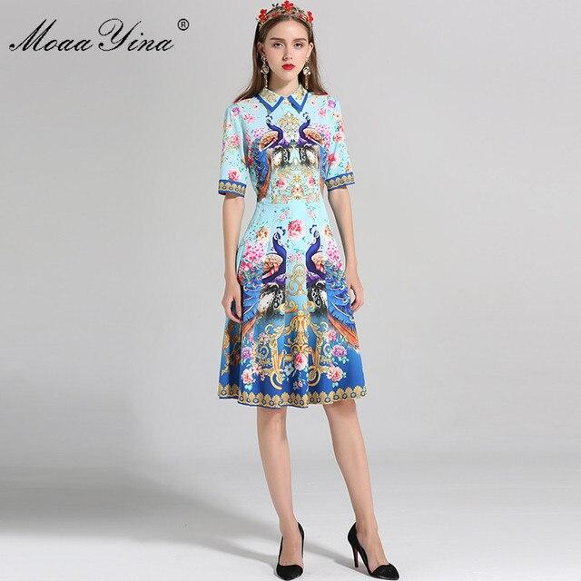 278d49ff37f2 MoaaYina Fashion Designer Runway Dress Summer Women Short sleeve Indie Folk  Peacock Floral Print Holiday Slim Elegant Dress