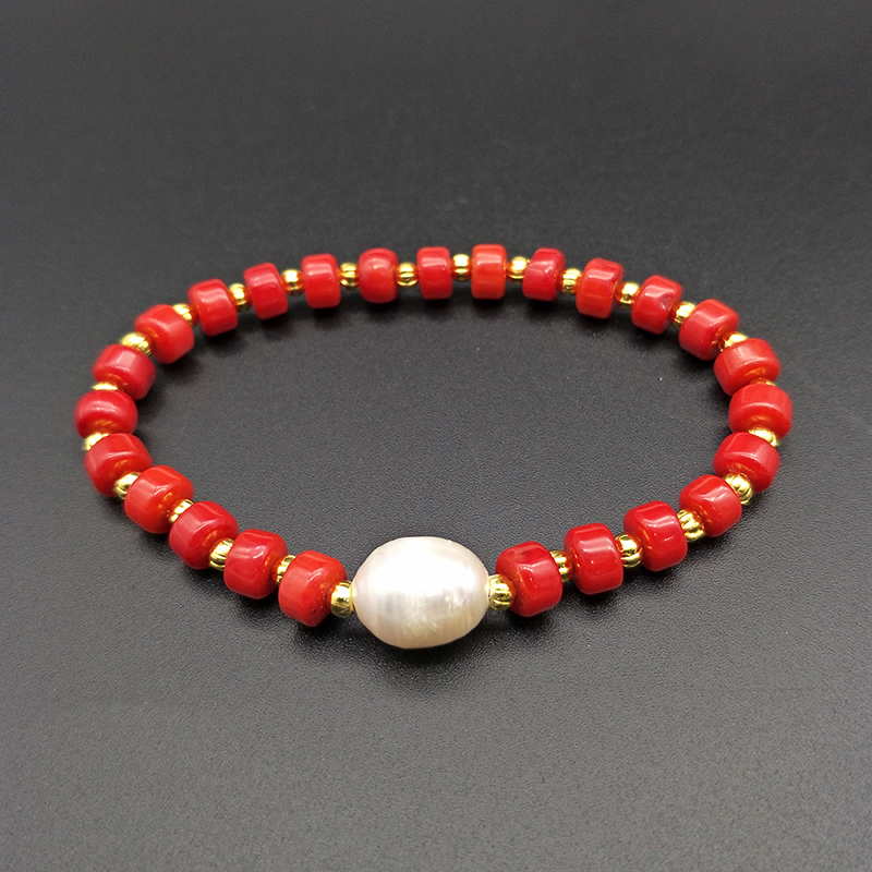 Shuangsheng Natural Red Coral Bracelet Coral Beads and Golden Beads Pearl Beaded Bohemian Jewelry Women's Gifts