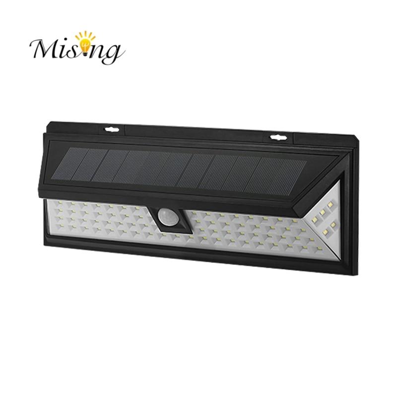 Mising Waterproof 80 <font><b>LED</b></font> Solar Light Outdoor Garden Light PIR <font><b>Motion</b></font> Sensor Emergency Wall Solar Lamp 3.7V