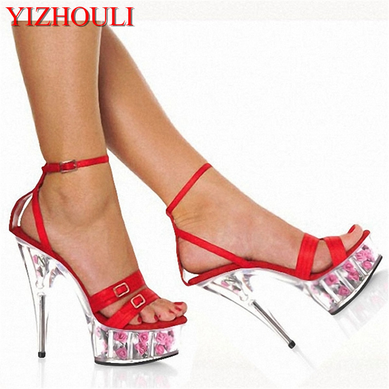 2018 Fashion shoes 6 inch High Heels Hot Red Womens platform sandals rome  flower sexy Crystal shoes 6894b3a2e56e