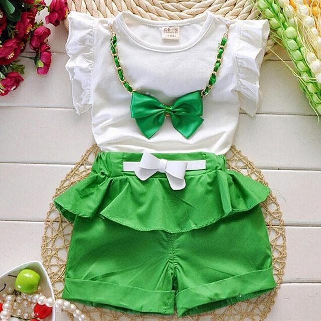 Hot 2017 Summer Style New Girls Clothing Set Shirt+ Shorts 2 Pcs Set Girl Clothes Kids Cotton Suits With Big Bow