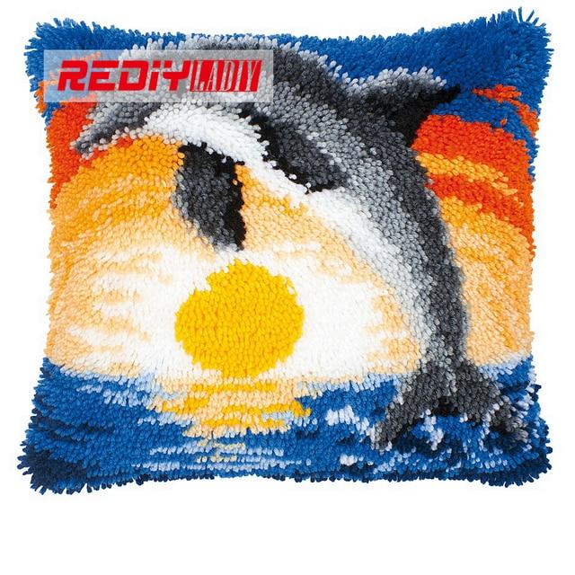 Latch Hook Pillow Kits Jumping Dolphin Hot Diy Needlework Crocheting Rug Yarn Handmade Unfinished