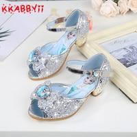 Girls Sandals Kids Princess Shoes High Heel Sandals Peep Toe Cartoon Elsa Princess Children Shoes For