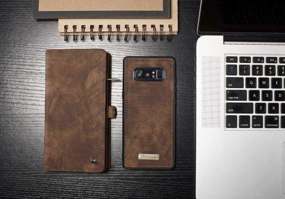 CASEME Multi Slot Fonction Portefeuille Cas Pour Samsung Galaxy Note 8 rétro En Cuir de Split Zipper Sac Aimant Cas pour Galaxy Note 8