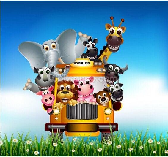 Custom Children's Wallpaper,Cartoon Animal Bus,3D Cartoon