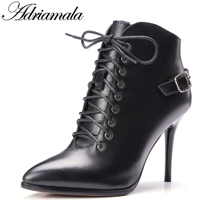 2017 Genuine Leather Ankle Boots For Women Autumn Winter Cow Leather Female Fashion Pointed Toe Sexy High Heels Boots Adriamala ladies casual lace up flat ankle boots fashion round toe plain cow leather boots for women female genuine leather autumn boots