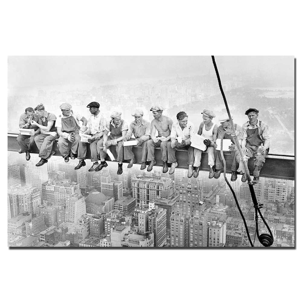 Empire State Building Construction Workers Canvas Painting Home Decor Poster Wall Art Pictures for Living Room D16