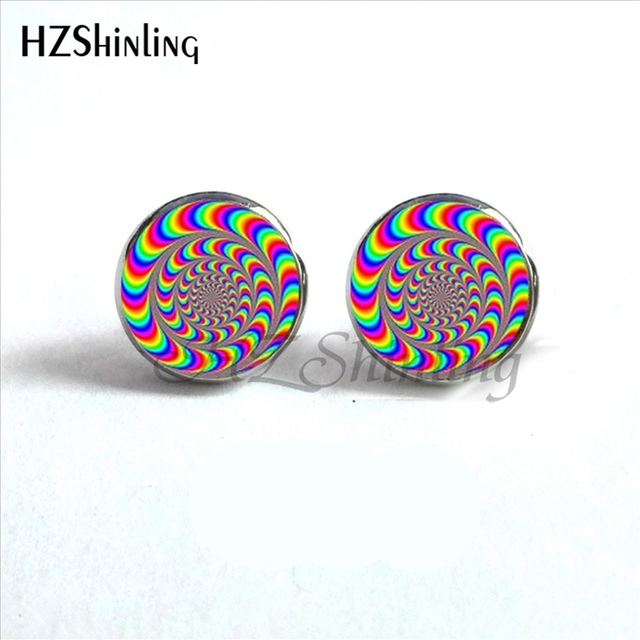 ED-0021 New Amazing Crazy spiral Earrings Handmade Art Photo Glass Dome Crazy spiral Jewelry Stud Earrings Wholesale HZ4